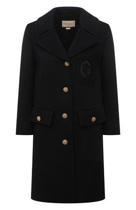 Женское шерстяное пальто GUCCI черного цвета, арт. 657054/ZAG3M | Фото 1 (Рукава: Длинные; Материал подклада: Вискоза; Материал внешний: Шерсть; Длина (верхняя одежда): До середины бедра; Стили: Гламурный; 1-2-бортные: Однобортные)
