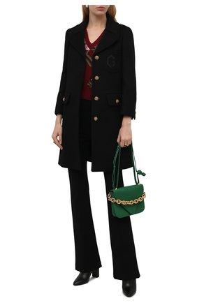 Женское шерстяное пальто GUCCI черного цвета, арт. 657054/ZAG3M | Фото 2 (Рукава: Длинные; Материал подклада: Вискоза; Материал внешний: Шерсть; Длина (верхняя одежда): До середины бедра; Стили: Гламурный; 1-2-бортные: Однобортные)