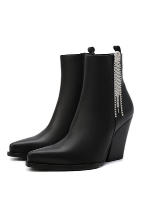 Женские кожаные ботильоны MAGDA BUTRYM черного цвета, арт. 5407210000 | Фото 1 (Материал внутренний: Натуральная кожа; Подошва: Плоская; Каблук высота: Высокий; Каблук тип: Устойчивый)