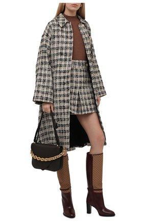Женские кожаные сапоги finn GUCCI бордового цвета, арт. 658251/1D0N0 | Фото 2 (Каблук высота: Высокий; Материал внутренний: Натуральная кожа; Высота голенища: Средние; Подошва: Плоская; Каблук тип: Устойчивый)