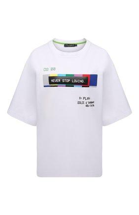 Женская хлопковая футболка DOLCE & GABBANA белого цвета, арт. F8P13T/HU7H8 | Фото 1 (Длина (для топов): Стандартные; Рукава: 3/4; Материал внешний: Хлопок; Стили: Спорт-шик; Принт: С принтом; Женское Кросс-КТ: Футболка-одежда)