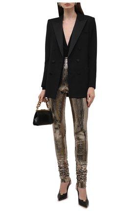 Женские леггинсы DOLCE & GABBANA бронзового цвета, арт. FTCADT/FUGMB | Фото 2 (Материал внешний: Синтетический материал; Длина (брюки, джинсы): Удлиненные; Стили: Спорт-шик; Женское Кросс-КТ: Леггинсы-одежда)