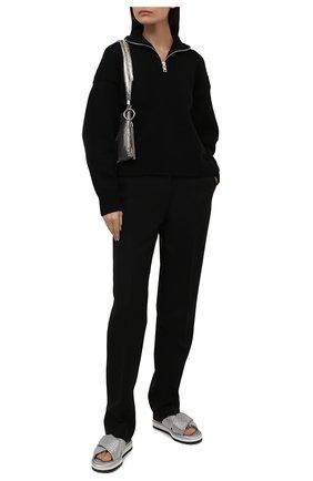 Женские текстильные шлепанцы DOLCE & GABBANA серебряного цвета, арт. CW0148/AQ624 | Фото 2 (Материал внешний: Текстиль; Подошва: Платформа; Материал внутренний: Текстиль)