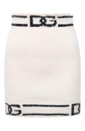 Женская юбка из шерсти и кашемира DOLCE & GABBANA черно-белого цвета, арт. FXF42T/JCMM7 | Фото 1 (Материал внешний: Шерсть, Кашемир; Длина Ж (юбки, платья, шорты): Мини; Стили: Гламурный; Кросс-КТ: Трикотаж; Женское Кросс-КТ: Юбка-одежда)