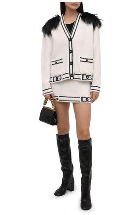 Женская юбка из шерсти и кашемира DOLCE & GABBANA черно-белого цвета, арт. FXF42T/JCMM7 | Фото 2 (Материал внешний: Шерсть, Кашемир; Длина Ж (юбки, платья, шорты): Мини; Стили: Гламурный; Кросс-КТ: Трикотаж; Женское Кросс-КТ: Юбка-одежда)