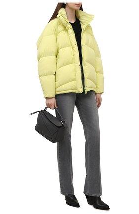 Женский пуховик KENZO желтого цвета, арт. FB620U077563 | Фото 2 (Материал внешний: Синтетический материал; Длина (верхняя одежда): До середины бедра; Материал подклада: Синтетический материал; Материал утеплителя: Пух и перо; Рукава: Длинные; Стили: Спорт-шик; Кросс-КТ: Пуховик, Куртка)