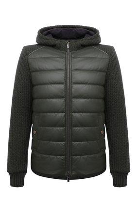 Мужская комбинированная куртка JACOB COHEN зеленого цвета, арт. U H 007 80 D 1213/R89 | Фото 1 (Материал подклада: Вискоза; Рукава: Длинные; Длина (верхняя одежда): Короткие; Кросс-КТ: Куртка; Мужское Кросс-КТ: пуховик-короткий; Стили: Кэжуэл)