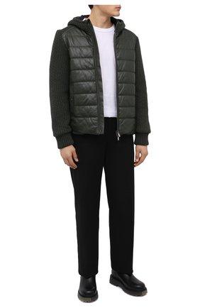 Мужская комбинированная куртка JACOB COHEN зеленого цвета, арт. U H 007 80 D 1213/R89 | Фото 2 (Материал подклада: Вискоза; Рукава: Длинные; Длина (верхняя одежда): Короткие; Кросс-КТ: Куртка; Мужское Кросс-КТ: пуховик-короткий; Стили: Кэжуэл)
