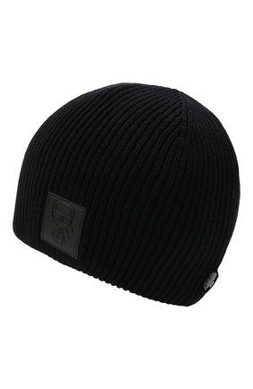 Детского хлопковая шапка KARL LAGERFELD KIDS черного цвета, арт. Z21022 | Фото 2 (Материал: Текстиль, Хлопок)