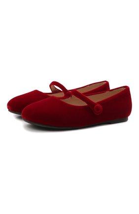 Детские балетки AGE OF INNOCENCE красного цвета, арт. 000153/ELIN VELVET/32-35 | Фото 1 (Материал внешний: Текстиль; Материал внутренний: Натуральная кожа)