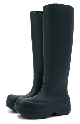 Мужские резиновые сапоги puddle BOTTEGA VENETA темно-зеленого цвета, арт. 667068/V00P0 | Фото 1 (Высота голенища: Высокие; Каблук высота: Высокий; Подошва: Плоская; Материал внутренний: Натуральная кожа, Текстиль; Материал внешний: Резина; Мужское Кросс-КТ: Сапоги-обувь; Кросс-КТ: резиновые)