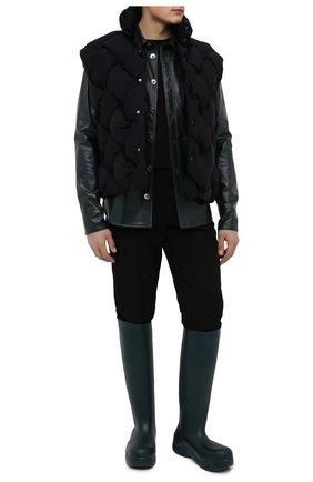 Мужские резиновые сапоги puddle BOTTEGA VENETA темно-зеленого цвета, арт. 667068/V00P0 | Фото 2 (Высота голенища: Высокие; Каблук высота: Высокий; Подошва: Плоская; Материал внутренний: Натуральная кожа, Текстиль; Материал внешний: Резина; Мужское Кросс-КТ: Сапоги-обувь; Кросс-КТ: резиновые)