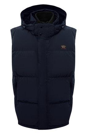 Мужской пуховый жилет PAUL&SHARK темно-синего цвета, арт. 11312231/IC3/3XL-6XL   Фото 1 (Материал подклада: Синтетический материал; Материал утеплителя: Пух и перо; Материал внешний: Синтетический материал; Кросс-КТ: Куртка, Пуховик; Стили: Кэжуэл; Длина (верхняя одежда): Короткие)