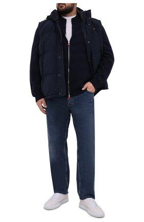 Мужской пуховый жилет PAUL&SHARK темно-синего цвета, арт. 11312231/IC3/3XL-6XL   Фото 2 (Материал подклада: Синтетический материал; Материал утеплителя: Пух и перо; Материал внешний: Синтетический материал; Кросс-КТ: Куртка, Пуховик; Стили: Кэжуэл; Длина (верхняя одежда): Короткие)