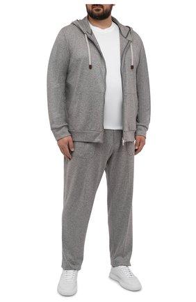 Мужской кашемировый кардиган MARCO PESCAROLO серого цвета, арт. MIKE/4460   Фото 2 (Рукава: Длинные; Материал внешний: Кашемир, Шерсть; Длина (для топов): Удлиненные; Мужское Кросс-КТ: Кардиган-одежда; Стили: Спорт-шик; Big sizes: Big Sizes)