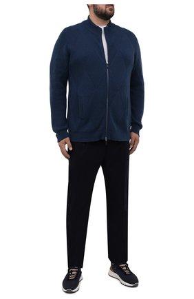 Мужской кашемировый кардиган SVEVO синего цвета, арт. 01054SA21/MP01/2/60-62   Фото 2 (Материал внешний: Кашемир, Шерсть; Мужское Кросс-КТ: Кардиган-одежда; Стили: Кэжуэл; Big sizes: Big Sizes; Длина (для топов): Удлиненные; Рукава: Длинные)