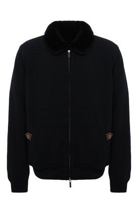 Мужской кашемировый бомбер с меховой подкладкой SVEVO черного цвета, арт. 0142XSA21/MP01/2   Фото 1 (Материал внешний: Шерсть, Кашемир; Рукава: Длинные; Длина (верхняя одежда): Короткие; Кросс-КТ: Куртка; Принт: Без принта; Мужское Кросс-КТ: утепленные куртки, шерсть и кашемир; Стили: Классический; Big sizes: Big Sizes)