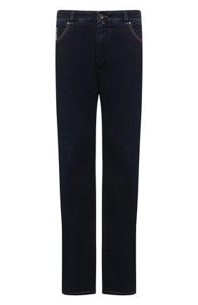 Мужские джинсы CORTIGIANI темно-синего цвета, арт. 213525/S500/0000/6090/60-70   Фото 1 (Материал внешний: Хлопок; Кросс-КТ: Деним; Силуэт М (брюки): Прямые; Стили: Классический; Big sizes: Big Sizes; Длина (брюки, джинсы): Стандартные)
