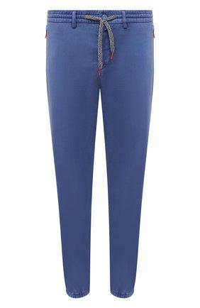 Мужские джоггеры KITON синего цвета, арт. UFPPZJ0344A   Фото 1 (Материал внешний: Лиоцелл, Хлопок; Силуэт М (брюки): Джоггеры; Стили: Кэжуэл; Длина (брюки, джинсы): Стандартные)
