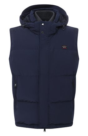 Мужской пуховый жилет PAUL&SHARK темно-синего цвета, арт. 11312231/IC3   Фото 1 (Материал утеплителя: Пух и перо; Материал внешний: Синтетический материал; Материал подклада: Синтетический материал; Кросс-КТ: Куртка, Пуховик; Стили: Кэжуэл; Длина (верхняя одежда): Короткие)