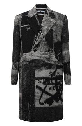 Мужской шерстяное пальто OFF-WHITE темно-серого цвета, арт. 0MER031F21FAB001 | Фото 1 (Длина (верхняя одежда): До колена; Рукава: Длинные; Материал внешний: Шерсть; Материал подклада: Вискоза; Мужское Кросс-КТ: пальто-верхняя одежда; Стили: Гранж)