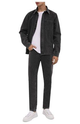 Мужские джинсы OFF-WHITE серого цвета, арт. 0MYA074F21DEN007   Фото 2 (Длина (брюки, джинсы): Стандартные; Материал внешний: Хлопок; Кросс-КТ: Деним; Силуэт М (брюки): Прямые; Стили: Гранж)