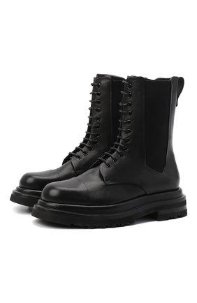 Мужские кожаные ботинки GIORGIO ARMANI черного цвета, арт. X2M338/XF528 | Фото 1 (Материал внутренний: Натуральная кожа; Подошва: Массивная; Каблук высота: Высокий; Высота голенища: Высокие; Мужское Кросс-КТ: Ботинки-обувь)