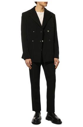 Мужские кожаные ботинки GIORGIO ARMANI черного цвета, арт. X2M338/XF528 | Фото 2 (Материал внутренний: Натуральная кожа; Подошва: Массивная; Каблук высота: Высокий; Высота голенища: Высокие; Мужское Кросс-КТ: Ботинки-обувь)