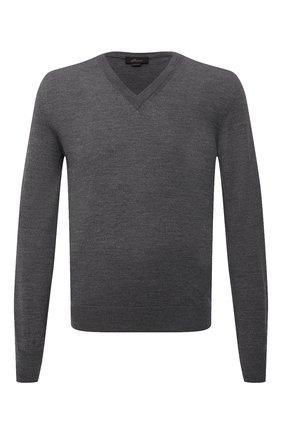 Мужской шерстяной пуловер BRIONI темно-серого цвета, арт. UMQ70L/0ZK28   Фото 1 (Материал внешний: Шерсть; Мужское Кросс-КТ: Пуловеры; Вырез: V-образный; Рукава: Длинные; Принт: Без принта; Стили: Кэжуэл; Длина (для топов): Стандартные)