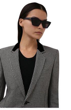 Женские солнцезащитные очки SAINT LAURENT темно-синего цвета, арт. SL 276 MICA | Фото 2 (Тип очков: С/з; Оптика Гендер: оптика-женское; Очки форма: D-форма)