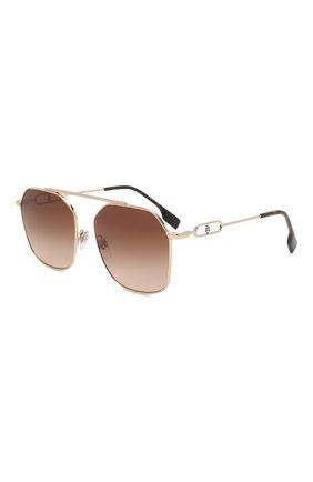 Женские солнцезащитные очки BURBERRY коричневого цвета, арт. 3124-110913   Фото 1 (Тип очков: С/з; Очки форма: Авиаторы; Оптика Гендер: оптика-женское)