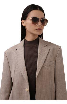 Женские солнцезащитные очки BURBERRY коричневого цвета, арт. 3124-110913   Фото 2 (Тип очков: С/з; Очки форма: Авиаторы; Оптика Гендер: оптика-женское)