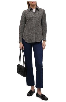 Женская рубашка из шерсти и шелка CHLOÉ темно-серого цвета, арт. CHC21WHT16065   Фото 2 (Материал внешний: Шерсть, Шелк; Длина (для топов): Стандартные; Рукава: Длинные; Материал подклада: Шелк; Стили: Гламурный; Принт: Без принта; Женское Кросс-КТ: Рубашка-одежда)