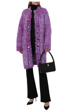 Женский кардиган DOLCE & GABBANA фиолетового цвета, арт. FXE90T/JCM09 | Фото 2 (Материал внешний: Шерсть; Длина (для топов): Удлиненные; Рукава: Длинные; Стили: Гламурный; Женское Кросс-КТ: кардиган-трикотаж)