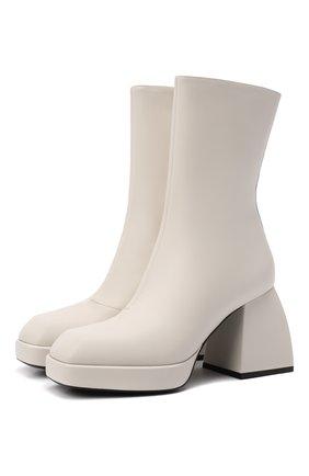 Женские кожаные ботильоны bulla corta NODALETO белого цвета, арт. BULLA C0RTA N01-4-5 | Фото 1 (Каблук высота: Высокий; Подошва: Платформа; Материал внутренний: Натуральная кожа; Каблук тип: Устойчивый)