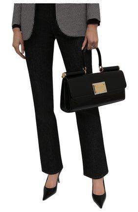 Женская сумка sicily DOLCE & GABBANA черного цвета, арт. BB7007/A1037 | Фото 2 (Материал: Натуральная кожа; Размер: large; Сумки-технические: Сумки top-handle)