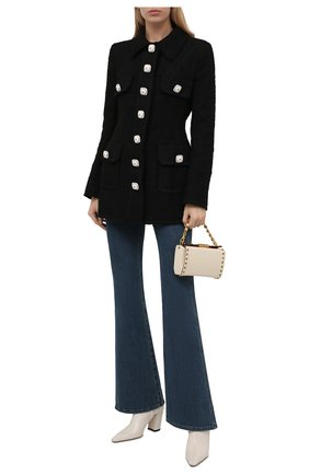 Женский жакет DOLCE & GABBANA черного цвета, арт. F26A4T/HUME6 | Фото 2 (Длина (для топов): Удлиненные; Рукава: Длинные; Материал подклада: Шелк; Стили: Гламурный; Случай: Формальный; Женское Кросс-КТ: Жакет-одежда; 1-2-бортные: Однобортные)