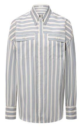 Женская шелковая рубашка BRUNELLO CUCINELLI голубого цвета, арт. MD915MF116 | Фото 1 (Длина (для топов): Удлиненные; Материал внешний: Шелк; Рукава: Длинные; Стили: Кэжуэл; Принт: Полоска; Женское Кросс-КТ: Рубашка-одежда)