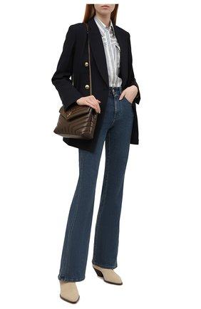 Женская шелковая рубашка BRUNELLO CUCINELLI голубого цвета, арт. MD915MF116 | Фото 2 (Длина (для топов): Удлиненные; Материал внешний: Шелк; Рукава: Длинные; Стили: Кэжуэл; Принт: Полоска; Женское Кросс-КТ: Рубашка-одежда)