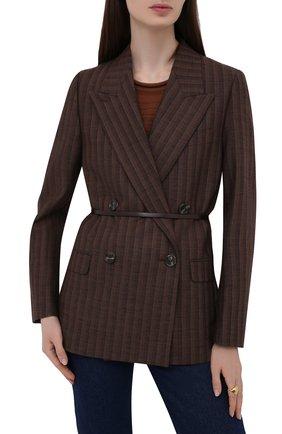 Женский кожаный пояс JIL SANDER темно-коричневого цвета, арт. JSWT800433-WTS69159 | Фото 2 (Кросс-КТ: Тонкие)