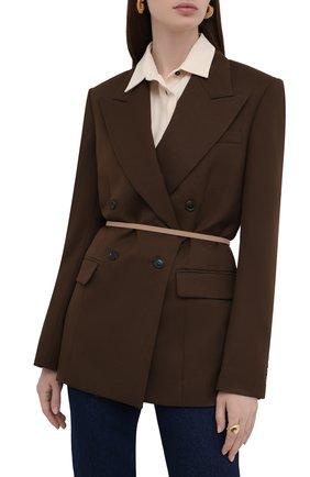 Женский кожаный пояс JIL SANDER бежевого цвета, арт. JSWT800433-WTS69159 | Фото 2 (Кросс-КТ: Тонкие)