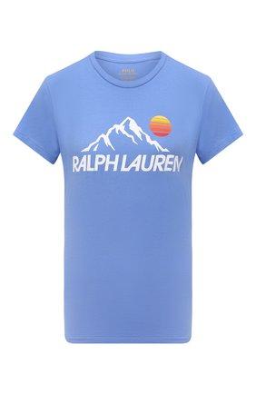Женская хлопковая футболка POLO RALPH LAUREN голубого цвета, арт. 211846885 | Фото 1 (Материал внешний: Хлопок; Рукава: Короткие; Длина (для топов): Стандартные; Стили: Спорт-шик; Принт: С принтом; Женское Кросс-КТ: Футболка-одежда)