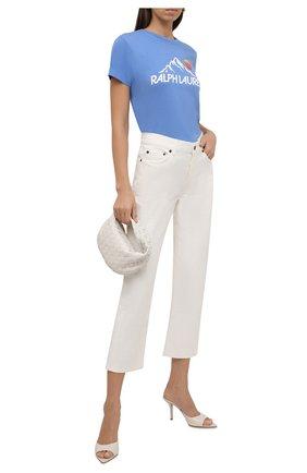 Женская хлопковая футболка POLO RALPH LAUREN голубого цвета, арт. 211846885 | Фото 2 (Материал внешний: Хлопок; Рукава: Короткие; Длина (для топов): Стандартные; Стили: Спорт-шик; Принт: С принтом; Женское Кросс-КТ: Футболка-одежда)