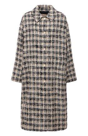 Женское пальто GUCCI бежевого цвета, арт. 657995/ZAGLP | Фото 1 (Материал подклада: Вискоза; Рукава: Длинные; Длина (верхняя одежда): До колена; Стили: Кэжуэл; 1-2-бортные: Однобортные)