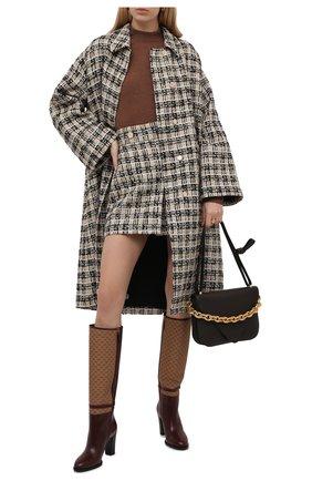 Женское пальто GUCCI бежевого цвета, арт. 657995/ZAGLP | Фото 2 (Материал подклада: Вискоза; Рукава: Длинные; Длина (верхняя одежда): До колена; Стили: Кэжуэл; 1-2-бортные: Однобортные)