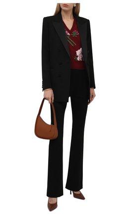 Женский шерстяной жилет GUCCI бордового цвета, арт. 663926/X1274 | Фото 2 (Длина (верхняя одежда): Короткие; Материал внешний: Шерсть; Стили: Романтичный; Кросс-КТ: Трикотаж; Женское Кросс-КТ: Жилет-одежда)