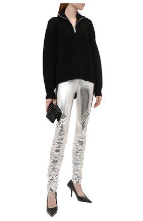Женские леггинсы DOLCE & GABBANA серебряного цвета, арт. FTCAFT/FUGMH | Фото 2 (Длина (брюки, джинсы): Удлиненные; Материал внешний: Синтетический материал; Стили: Гламурный; Женское Кросс-КТ: Леггинсы-одежда)