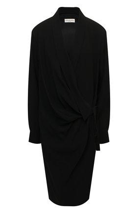 Женское платье DRIES VAN NOTEN черного цвета, арт. 212-011089-3180 | Фото 1 (Материал внешний: Вискоза, Синтетический материал; Рукава: Длинные; Длина Ж (юбки, платья, шорты): До колена; Материал подклада: Вискоза; Стили: Кэжуэл; Случай: Формальный; Женское Кросс-КТ: Платье-одежда)