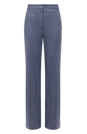 Женские кожаные брюки OFF-WHITE голубого цвета, арт. 0WJB019F21LEA001 | Фото 1 (Материал подклада: Вискоза; Длина (брюки, джинсы): Стандартные; Стили: Гламурный; Женское Кросс-КТ: Брюки-одежда; Силуэт Ж (брюки и джинсы): Прямые)