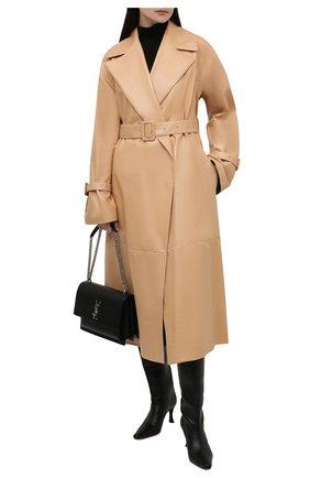 Женский кожаный тренч JIL SANDER бежевого цвета, арт. JSWT654775-WTL01021 | Фото 2 (Рукава: Длинные; Длина (верхняя одежда): Длинные; Стили: Минимализм)